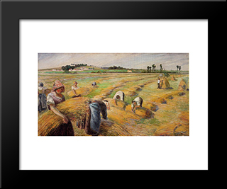 The Harvest: Modern Black Framed Art Print by Camille Pissarro