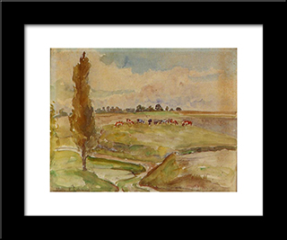 Landscape At Osny: Modern Black Framed Art Print by Camille Pissarro