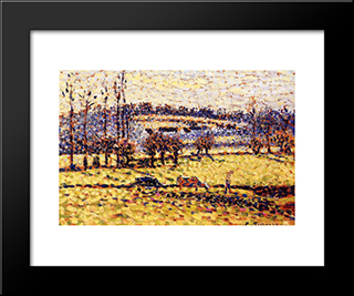 Meadow At Bazincourt: Modern Black Framed Art Print by Camille Pissarro