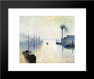 Ile Lacruix, Rouen. Effect Of Fog: Modern Black Framed Art Print by Camille Pissarro
