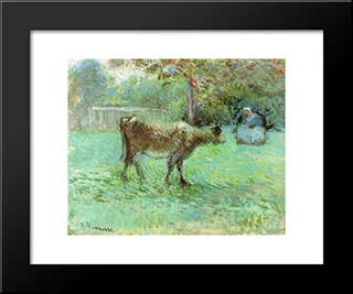 The Cowherd: Modern Black Framed Art Print by Camille Pissarro