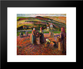 Potato Harvest: Modern Black Framed Art Print by Camille Pissarro