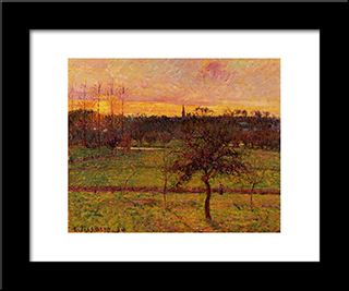 Landscape At Eragny: Modern Black Framed Art Print by Camille Pissarro