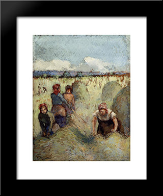 Haymaking: Modern Black Framed Art Print by Camille Pissarro