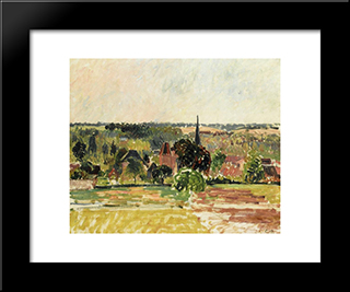 View Of Eragny: Modern Black Framed Art Print by Camille Pissarro