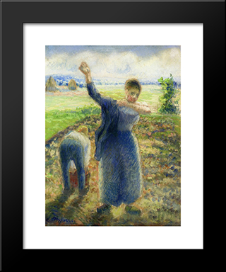 Workers In The Fields: Modern Black Framed Art Print by Camille Pissarro