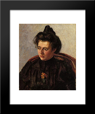 Portrait Of Jeanne: Modern Black Framed Art Print by Camille Pissarro
