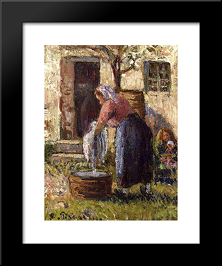 The Laundry Woman: Modern Black Framed Art Print by Camille Pissarro