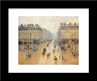Avenue De L'Opera, Snow Effect: Modern Black Framed Art Print by Camille Pissarro