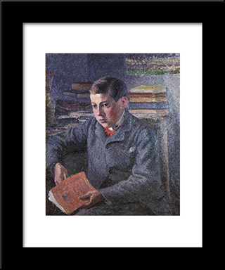 Portrait Of Paulemile: Modern Black Framed Art Print by Camille Pissarro