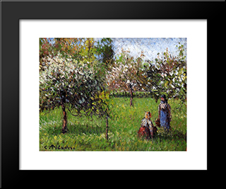 Apple Blossoms, Eragny: Modern Black Framed Art Print by Camille Pissarro