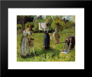 Laundresses At Eragny: Modern Black Framed Art Print by Camille Pissarro