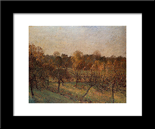 Sunset At Eragny: Modern Black Framed Art Print by Camille Pissarro