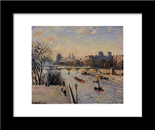 The Louvre: Modern Black Framed Art Print by Camille Pissarro