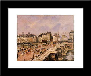 The Pont Neuf: Modern Black Framed Art Print by Camille Pissarro