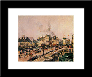 The Pont Neuf 2: Modern Black Framed Art Print by Camille Pissarro