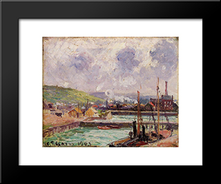 View Of Duquesne And Berrigny Basins In Dieppe: Modern Black Framed Art Print by Camille Pissarro