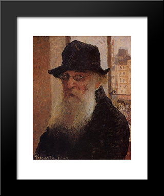 Self Portrait: Modern Black Framed Art Print by Camille Pissarro