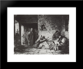 The Ressurection Of Jair'S Daughter: Modern Black Framed Art Print by Vasily Polenov