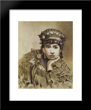 Montenegrin Girl: Modern Black Framed Art Print by Vasily Polenov