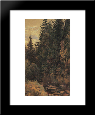 Pond: Modern Black Framed Art Print by Vasily Polenov