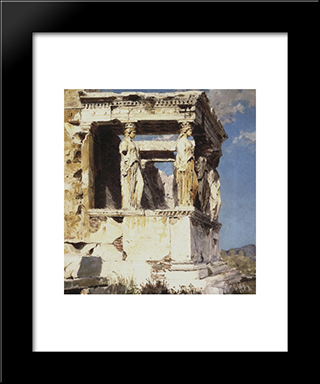 Erechtheion. The Portico Of Caryatids: Modern Black Framed Art Print by Vasily Polenov
