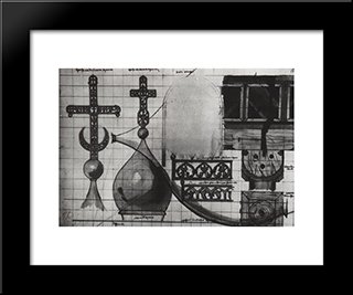 Crosses. Lattice. Details: Modern Black Framed Art Print by Vasily Polenov