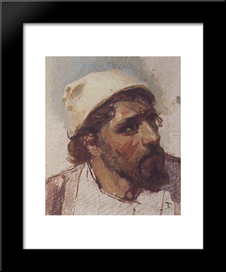 Head Of Christ: Modern Black Framed Art Print by Vasily Polenov