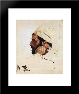 Head Of I. I. Levitan Turned Like The Head Of Christ In The 'Dream': Modern Black Framed Art Print by Vasily Polenov
