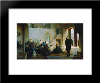 Among The Teachers: Modern Black Framed Art Print by Vasily Polenov