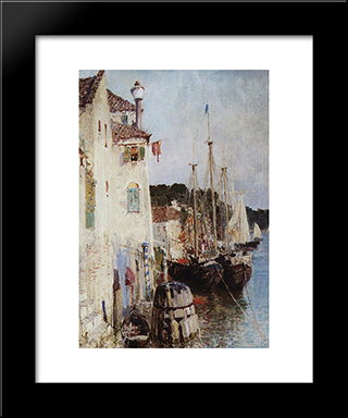 Venice: Modern Black Framed Art Print by Vasily Polenov