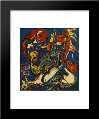 The Moon-Woman Cuts The Circle: Modern Black Framed Art Print by Jackson Pollock