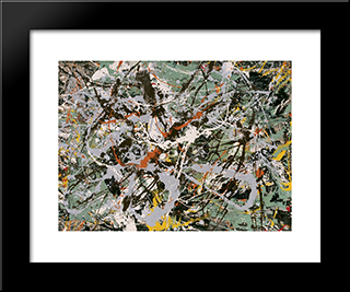 Untitled (Green Silver): Modern Black Framed Art Print by Jackson Pollock