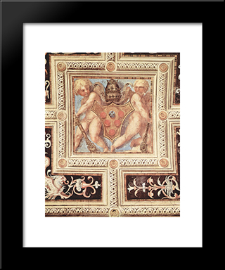 Scene With Cherubs On Papal Coat Of Arms: Modern Black Framed Art Print by Jacopo Pontormo