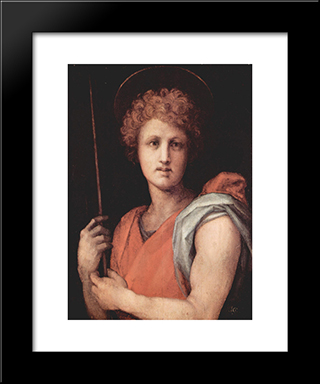 St. Sebastian: Modern Black Framed Art Print by Jacopo Pontormo
