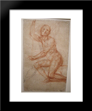 Study Of A Seated Man: Modern Black Framed Art Print by Jacopo Pontormo