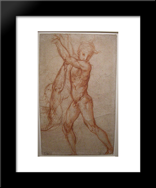 Study Of Nude: Modern Black Framed Art Print by Jacopo Pontormo