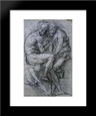 Two Male Figures Looking In A Mirror And A Putto: Modern Black Framed Art Print by Jacopo Pontormo