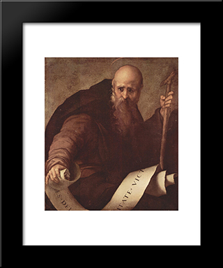 St. Anthony Abbot: Modern Black Framed Art Print by Jacopo Pontormo