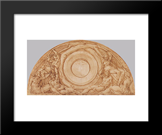Study For The Lunette With Vertumnus And Pomona: Modern Black Framed Art Print by Jacopo Pontormo