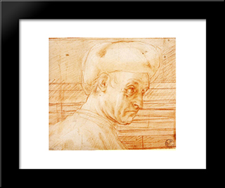Study Of A Man Wearing A Hat: Modern Black Framed Art Print by Jacopo Pontormo