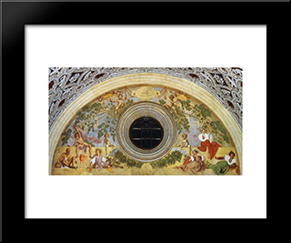 Vertumnus And Pomona: Modern Black Framed Art Print by Jacopo Pontormo