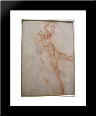 Self Portrait: Modern Black Framed Art Print by Jacopo Pontormo