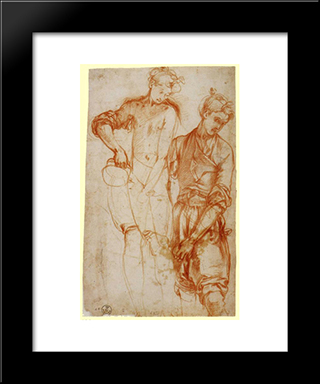 Study Of A Girl Pouring From A Jug: Modern Black Framed Art Print by Jacopo Pontormo