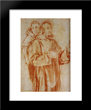 Study Of Two Carthusian Monks: Modern Black Framed Art Print by Jacopo Pontormo