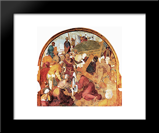 The Ascent To Calvary: Modern Black Framed Art Print by Jacopo Pontormo