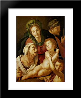 The Holy Family: Modern Black Framed Art Print by Jacopo Pontormo