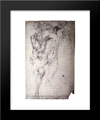 Two Nudes: Modern Black Framed Art Print by Jacopo Pontormo
