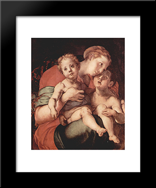 Madonna And Child With The Young Saint John: Modern Black Framed Art Print by Jacopo Pontormo