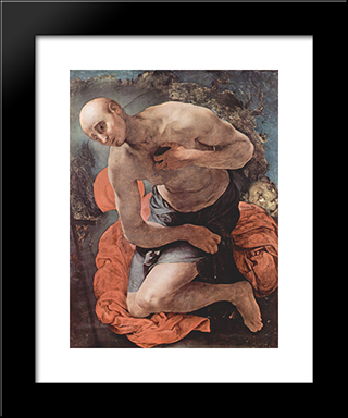 The Penitence Of St. Jerome: Modern Black Framed Art Print by Jacopo Pontormo